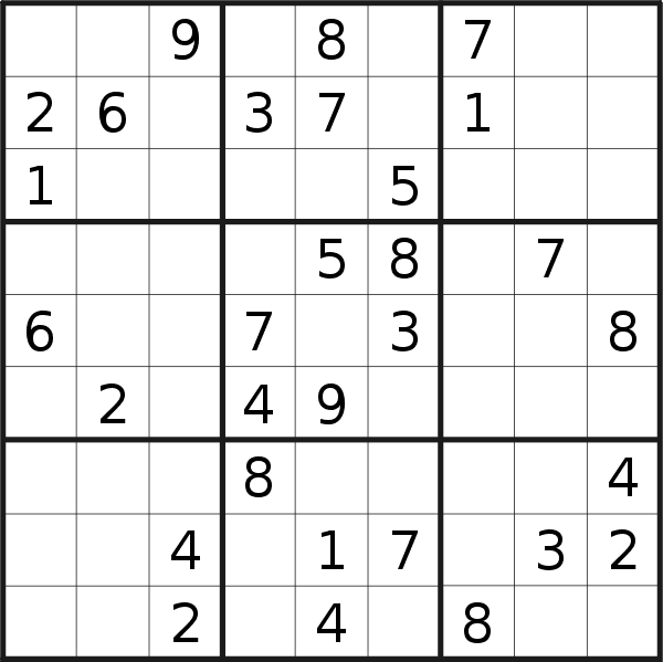 Sudoku puzzle for <br />Sunday, 23rd of August 2020