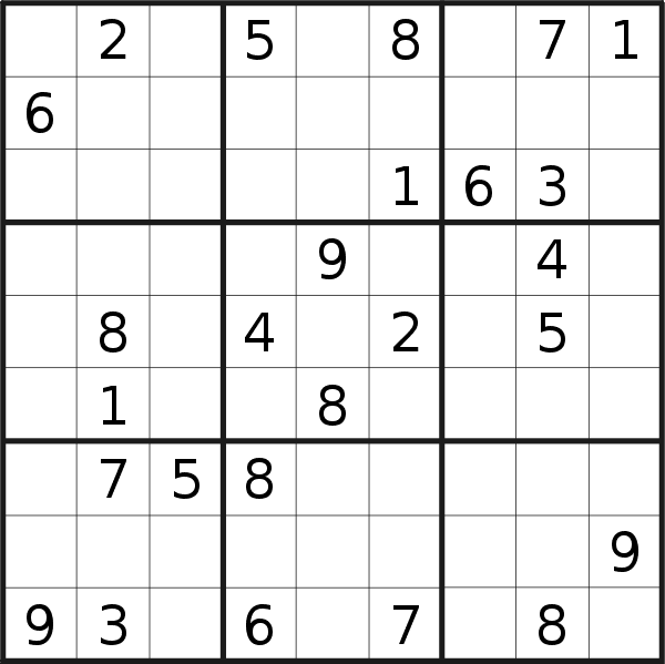 Sudoku puzzle for <br />Monday, 24th of August 2020