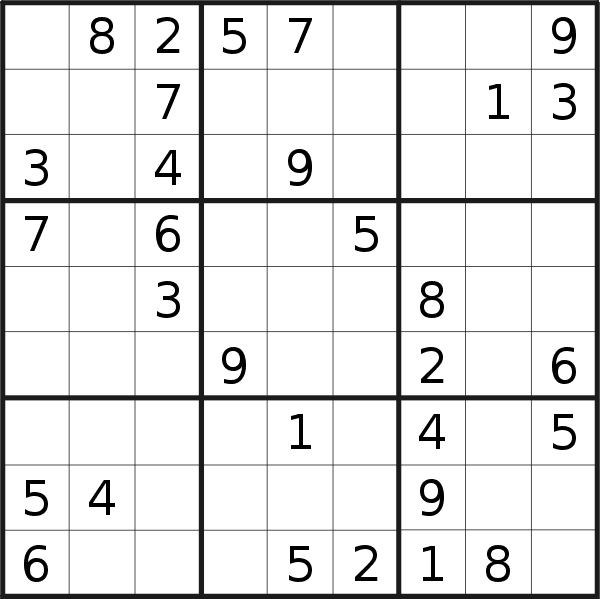 Sudoku puzzle for <br />Thursday, 3rd of September 2020
