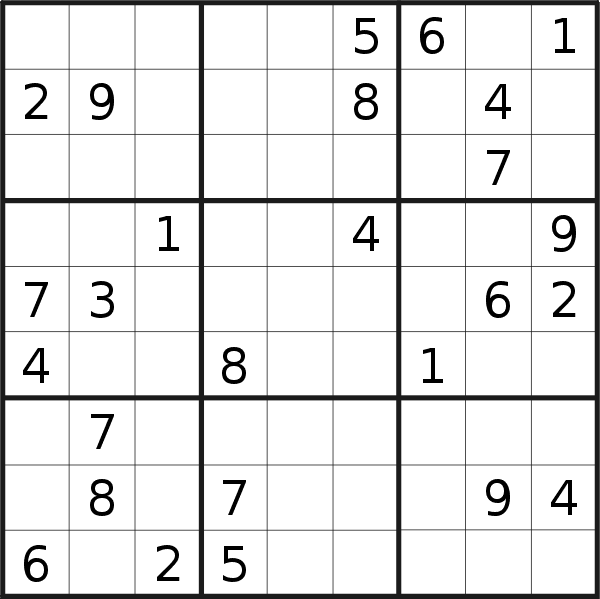 Sudoku puzzle for <br />Wednesday, 9th of September 2020