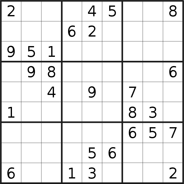 Sudoku puzzle for <br />Friday, 11th of September 2020