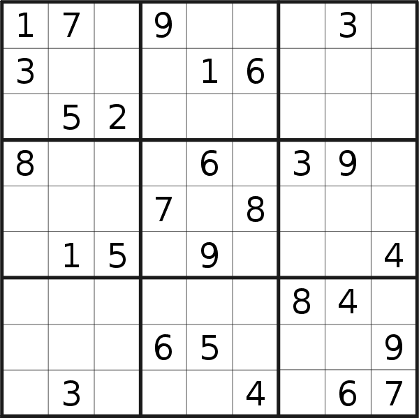 Sudoku puzzle for <br />Saturday, 19th of September 2020