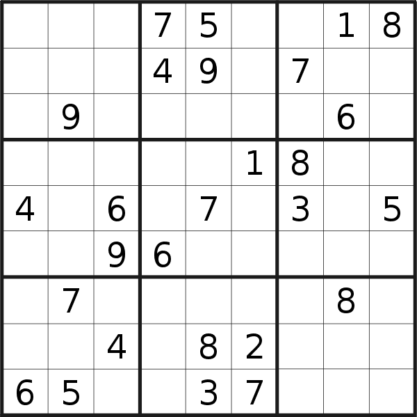 Sudoku puzzle for <br />Sunday, 20th of September 2020