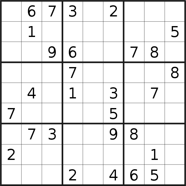 Sudoku puzzle for <br />Wednesday, 23rd of September 2020