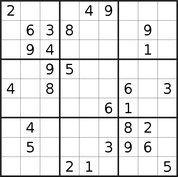Sudoku puzzle for <br />Sunday, 27th of September 2020