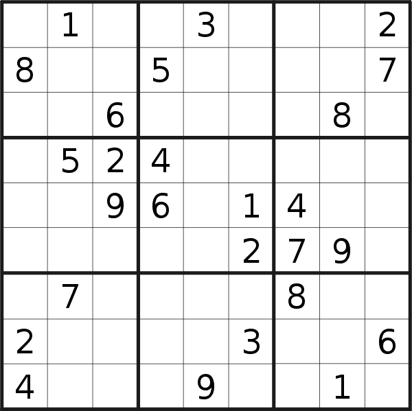 Sudoku puzzle for <br />Wednesday, 30th of September 2020