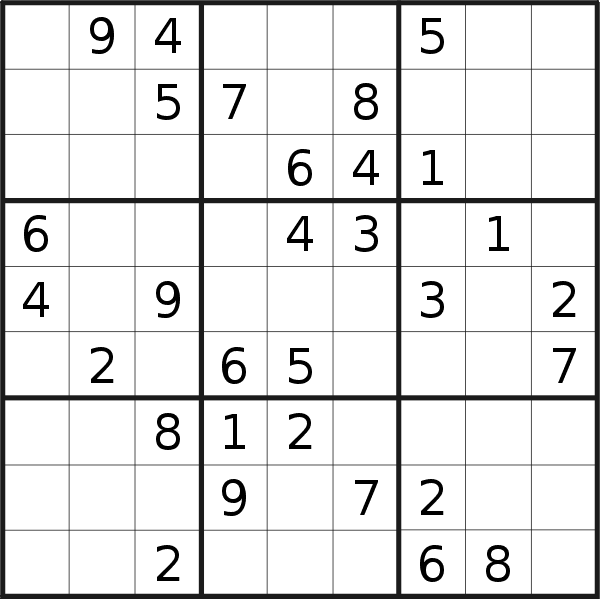 Sudoku puzzle for <br />Thursday, 1st of October 2020