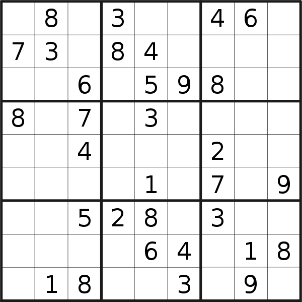 Sudoku puzzle for <br />Thursday, 8th of October 2020