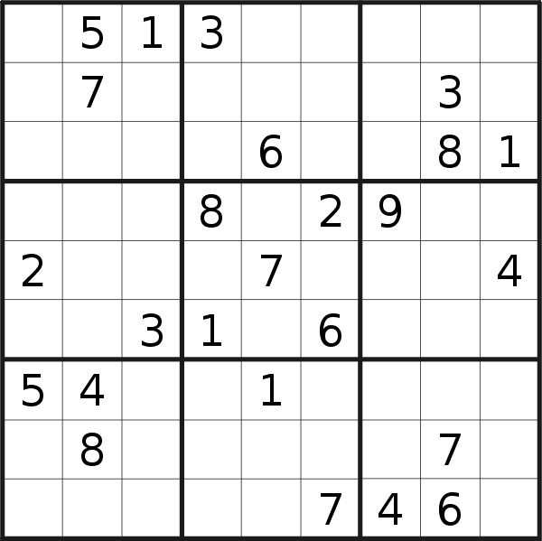 Sudoku puzzle for <br />Monday, 12th of October 2020