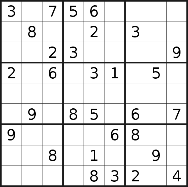Sudoku puzzle for <br />Monday, 19th of October 2020