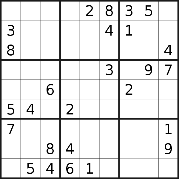 Sudoku puzzle for <br />Sunday, 25th of October 2020