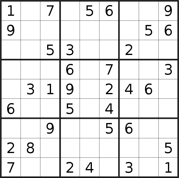Sudoku puzzle for <br />Sunday, 3rd of January 2021
