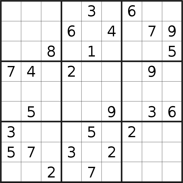 Sudoku puzzle for <br />Wednesday, 6th of January 2021
