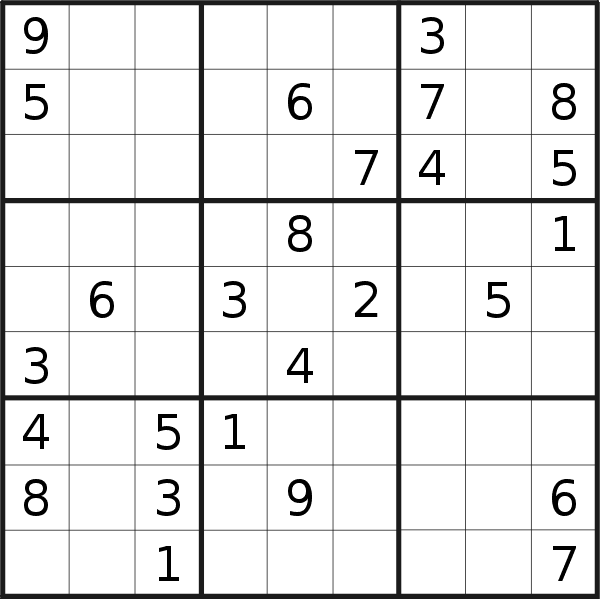 Sudoku puzzle for <br />Wednesday, 3rd of February 2021