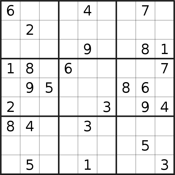 Sudoku puzzle for <br />Wednesday, 17th of February 2021