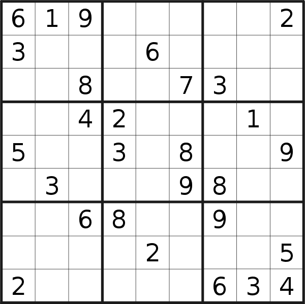 Sudoku puzzle for <br />Thursday, 25th of February 2021