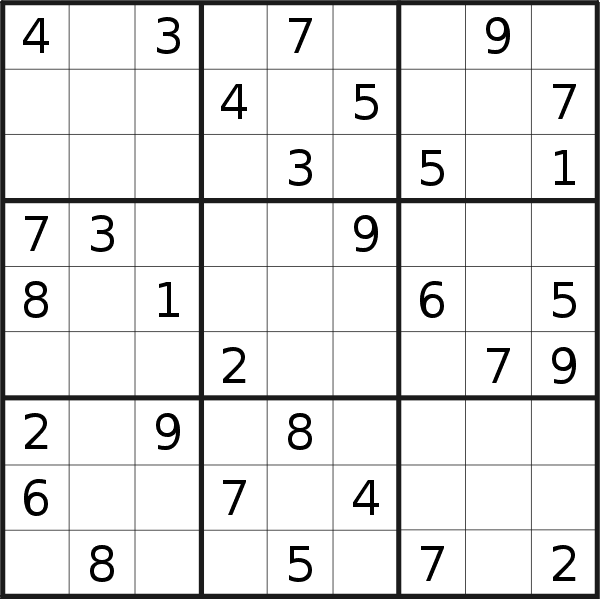 Sudoku puzzle for <br />Sunday, 28th of February 2021