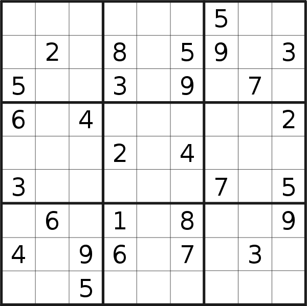 Sudoku puzzle for <br />Tuesday, 9th of March 2021