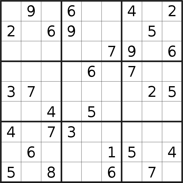 Sudoku puzzle for <br />Thursday, 25th of March 2021