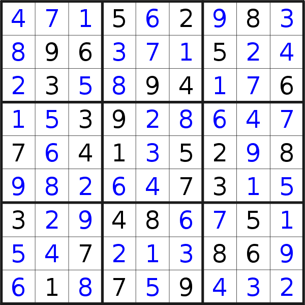 Sudoku solution for puzzle published on Friday, 17th of November 2017