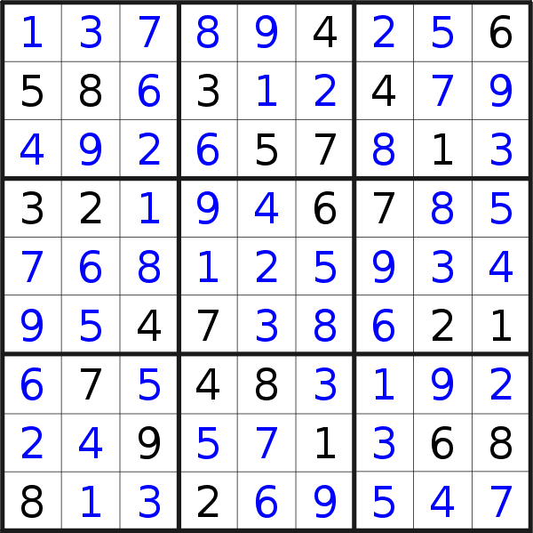 Sudoku solution for puzzle published on Monday, 21st of May 2018