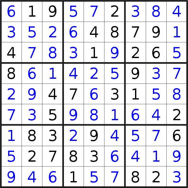 Sudoku solution for puzzle published on Thursday, 18th of October 2018