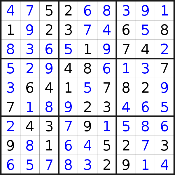 Sudoku solution for puzzle published on Sunday, 6th of January 2019