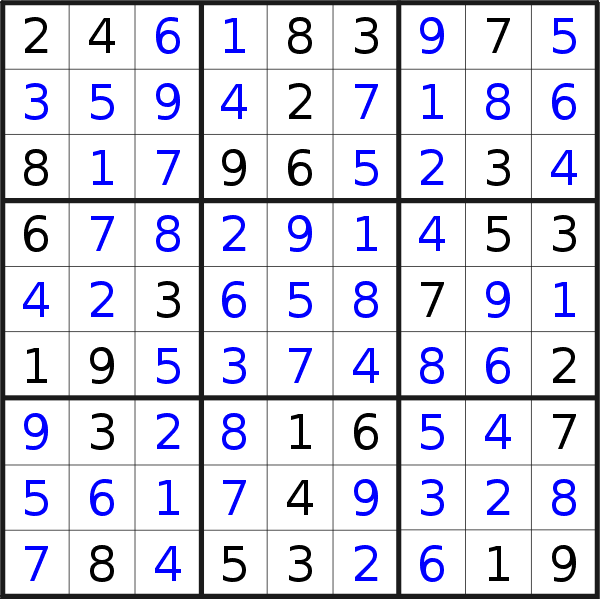 Sudoku solution for puzzle published on Wednesday, 9th of January 2019