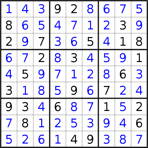 Sudoku solution for puzzle published on Tuesday, 5th of February 2019