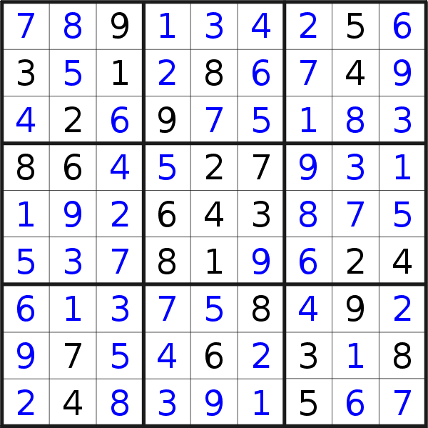 Sudoku solution for puzzle published on Friday, 8th of February 2019