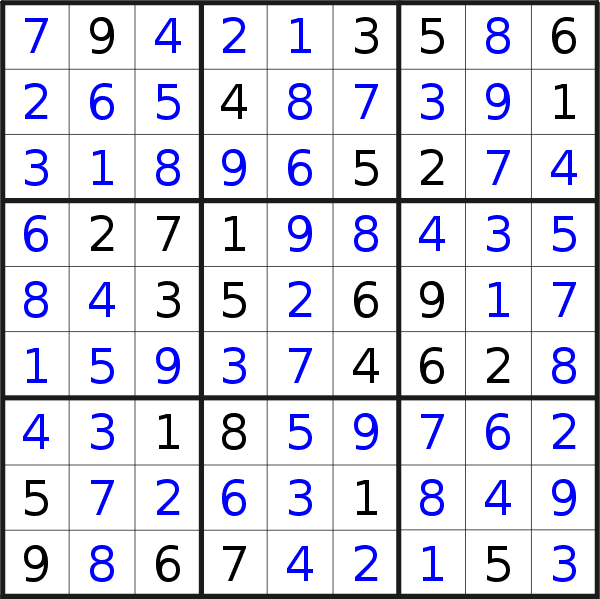 Sudoku solution for puzzle published on Saturday, 9th of February 2019