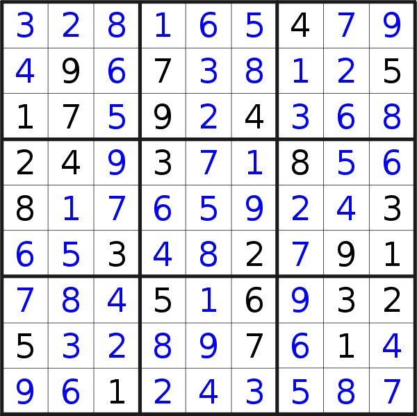 Sudoku solution for puzzle published on Sunday, 10th of February 2019
