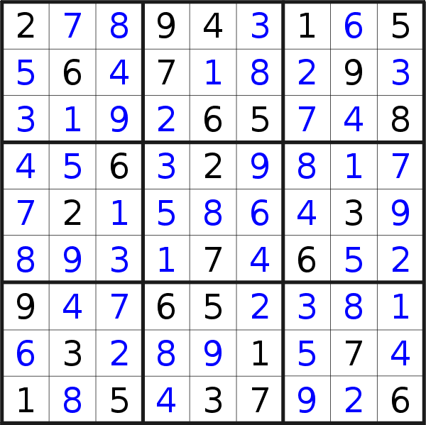 Sudoku solution for puzzle published on Saturday, 9th of March 2019