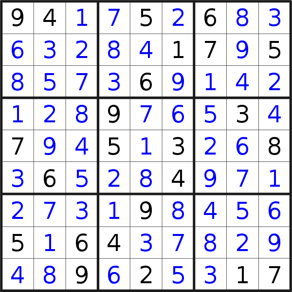 Sudoku solution for puzzle published on Sunday, 10th of March 2019