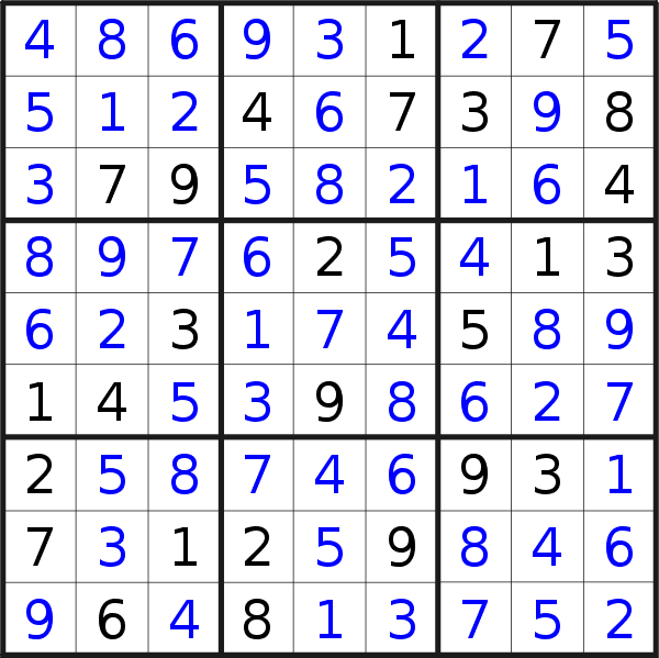 Sudoku solution for puzzle published on Monday, 11th of March 2019