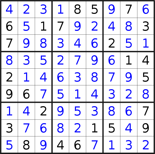 Sudoku solution for puzzle published on Tuesday, 12th of March 2019