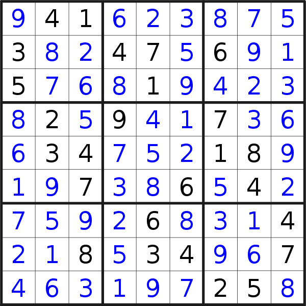 Sudoku solution for puzzle published on Tuesday, 9th of April 2019