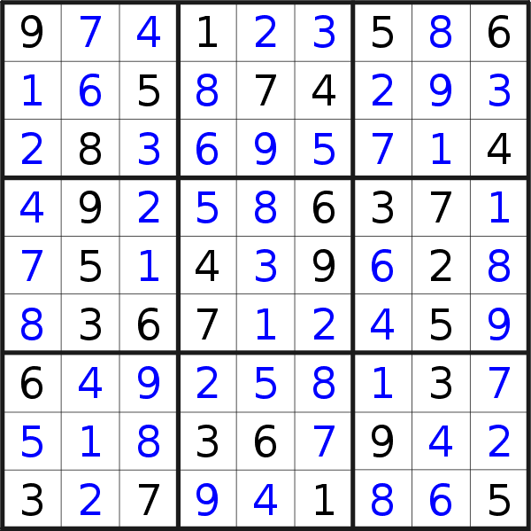 Sudoku solution for puzzle published on Wednesday, 10th of April 2019