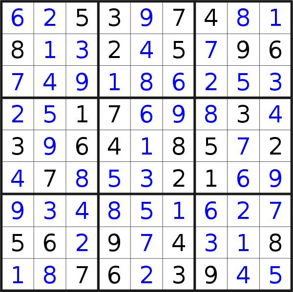 Sudoku solution for puzzle published on Saturday, 13th of April 2019