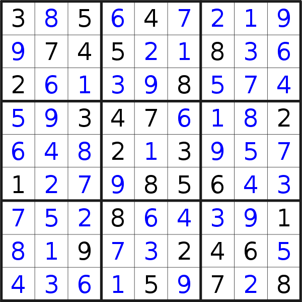 Sudoku solution for puzzle published on Sunday, 14th of April 2019
