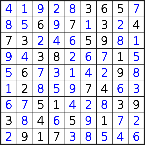 Sudoku solution for puzzle published on Sunday, 21st of April 2019