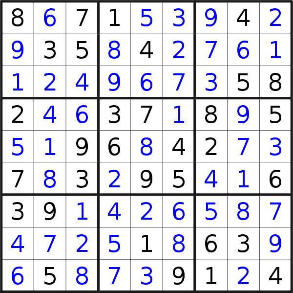Sudoku solution for puzzle published on Friday, 10th of May 2019