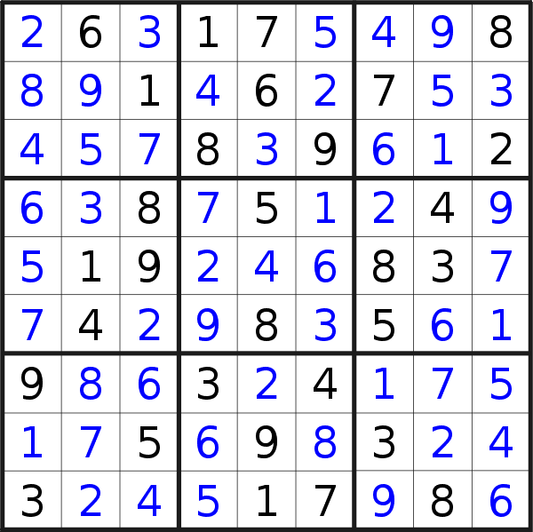 Sudoku solution for puzzle published on Saturday, 11th of May 2019