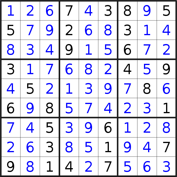 Sudoku solution for puzzle published on Sunday, 12th of May 2019