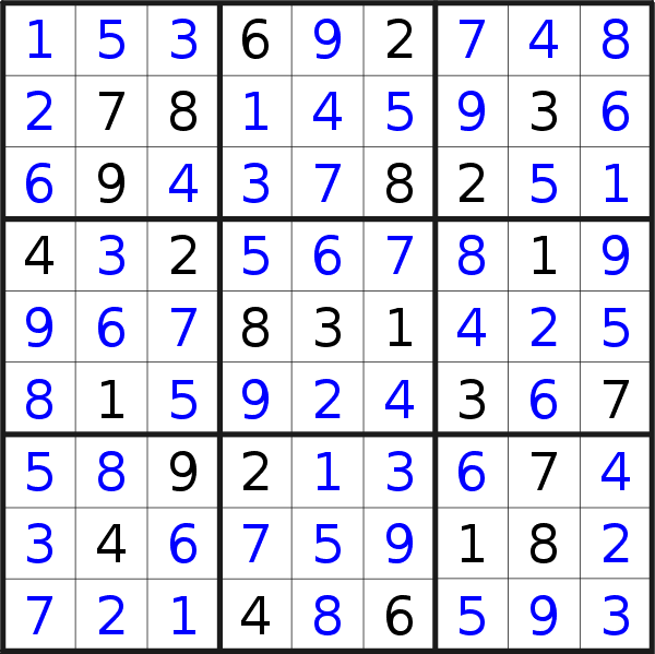 Sudoku solution for puzzle published on Thursday, 6th of June 2019
