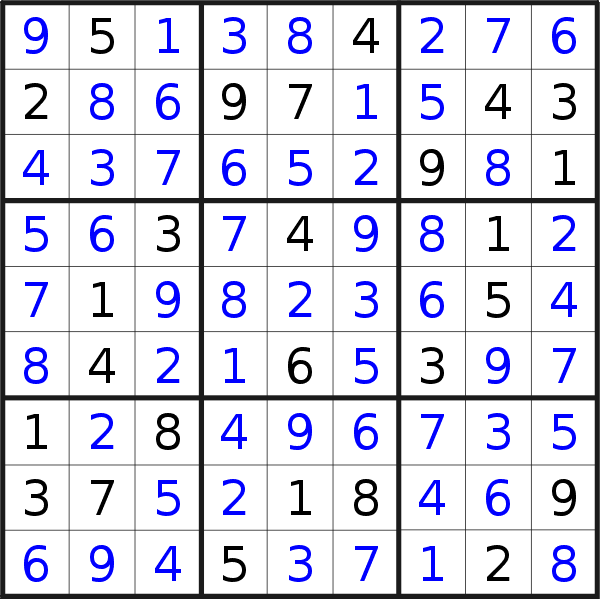 Sudoku solution for puzzle published on Friday, 7th of June 2019