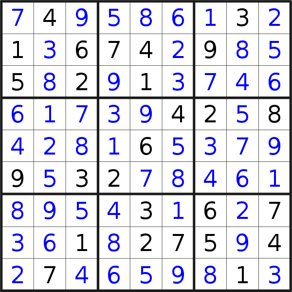 Sudoku solution for puzzle published on Tuesday, 11th of June 2019