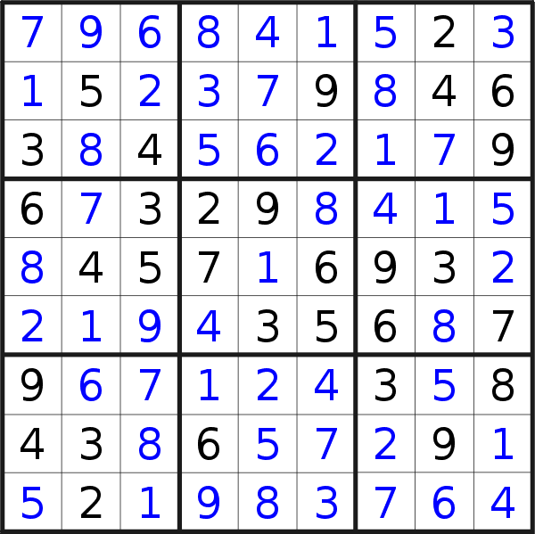 Sudoku solution for puzzle published on Sunday, 7th of July 2019