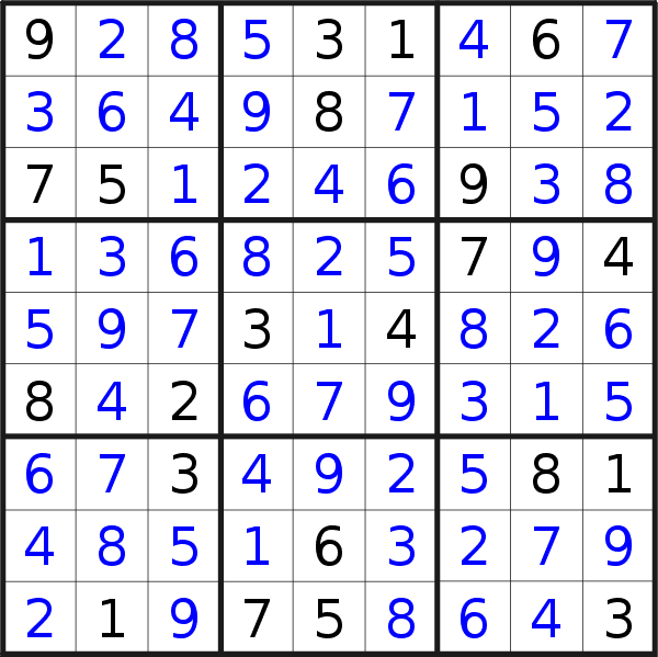 Sudoku solution for puzzle published on Monday, 8th of July 2019
