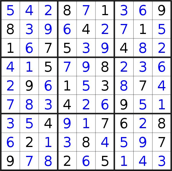 Sudoku solution for puzzle published on Wednesday, 10th of July 2019